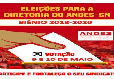 ANDES-SN realiza eleição para nova diretoria nos dias 9 e 10 de maio
