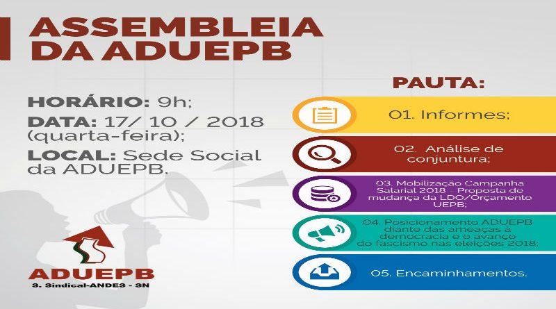 Assembleia Geral da ADUEPB – 17/10/2018 (Quarta-feira)