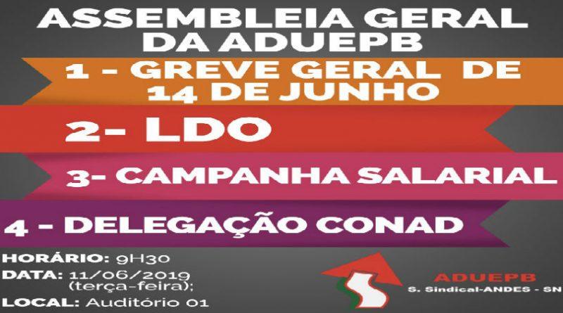 Assembleia da ADUEPB avaliará, amanhã (11/06), adesão à Greve Geral