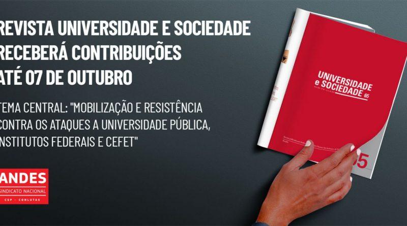 Revista Universidade e Sociedade receberá contribuições até 07/10
