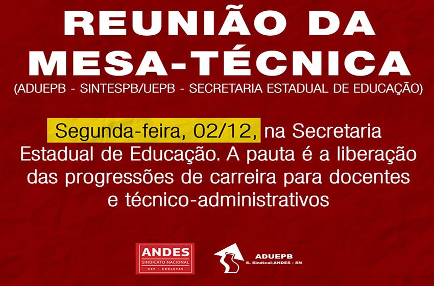 ADUEPB avalia que mesa-técnica pode fechar acordo para liberação das progressões