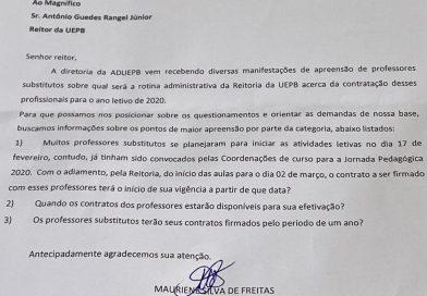 ADUEPB busca informações com a Reitoria sobre contratos dos professores substitutos