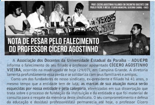 Nota de pesar pelo falecimento do Professor Cícero Agostinho Vieira