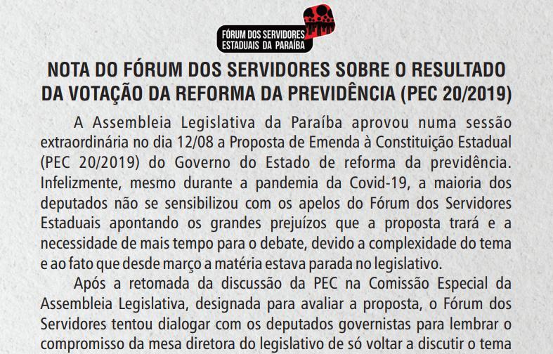 NOTA DO FÓRUM DO SERVIDORES SOBRE A VOTAÇÃO DA REFORMA DA PREVIDÊNCIA PEC 20/2019