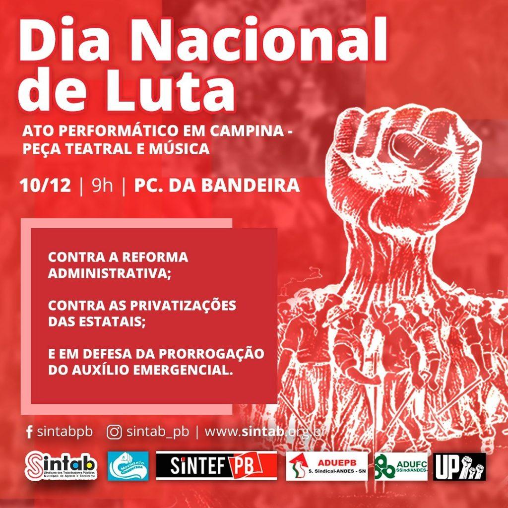 Ato público marcará Dia Nacional de Luta contra a reforma Administrativa em Campina Grande