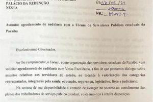 Fórum dos Servidores Públicos da PB solicita audiência com governador
