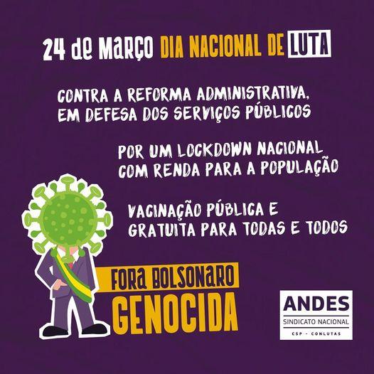 Bandeiraço marcará Dia Nacional de Luta (24/03) em Campina Grande