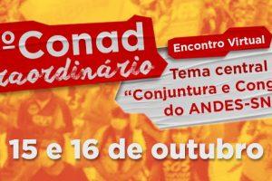 13º Conad Extraordinário do ANDES-SN ocorre sexta (15) e sábado (16)